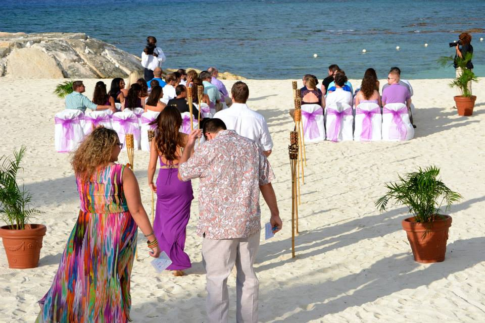 set up on the beach for ceremony