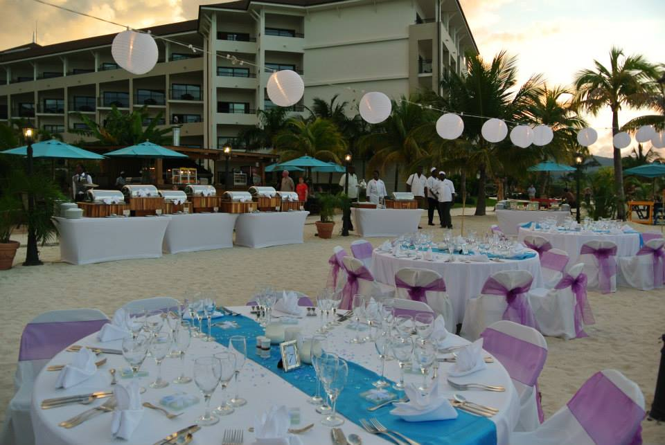 different view of the turquoise and purple reception