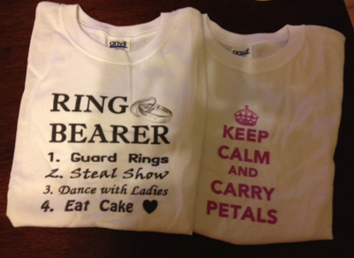 T-shirts for our ring bearer and flower girl