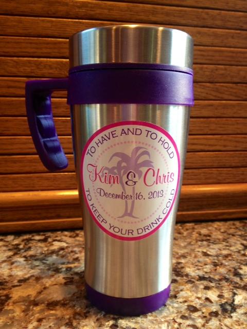 Travel mugs and custom stickers