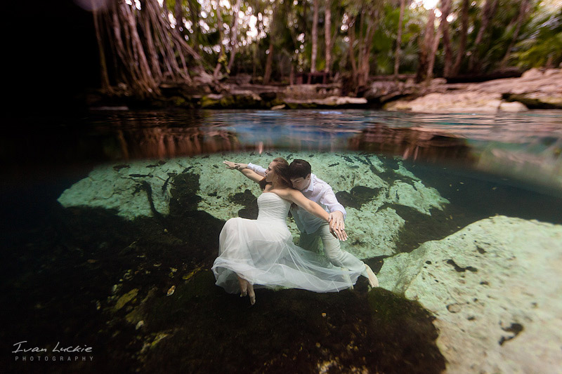 Cenote underwater photography in playa del carmen