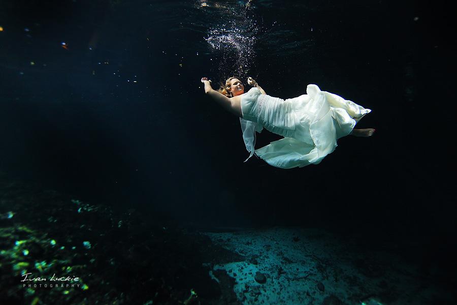bride floating On water