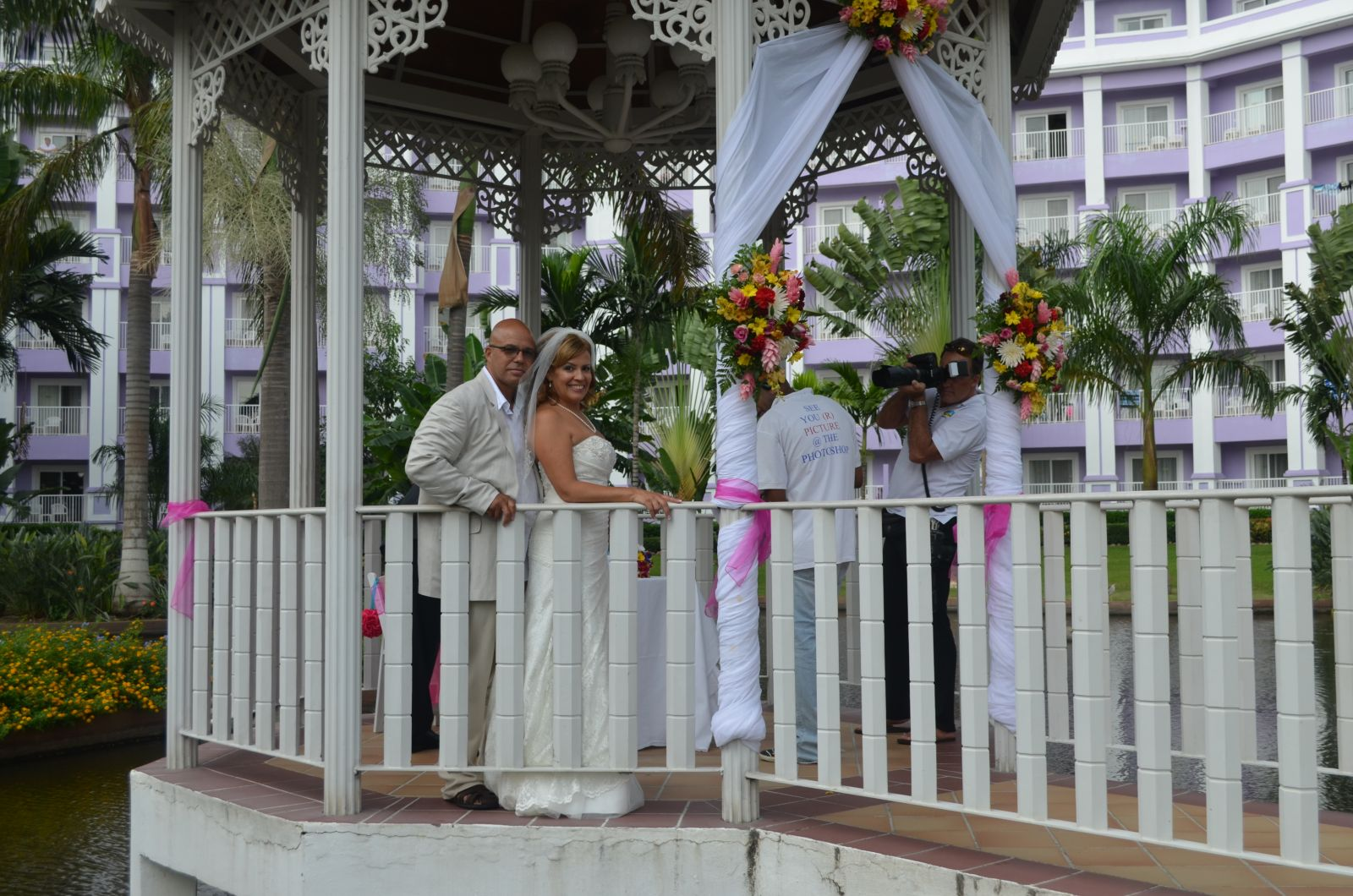 In the gazebo after the ceremony