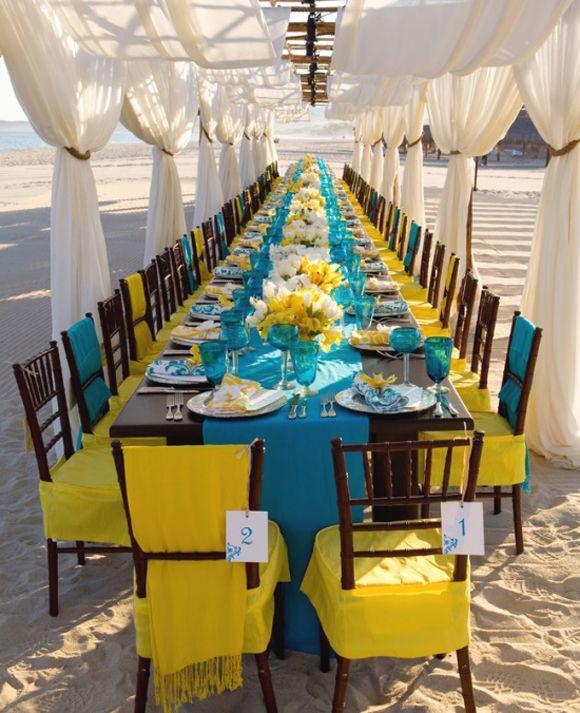 Wedding Color Table Setup
