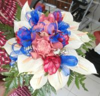 Bouquet with blue ribbon