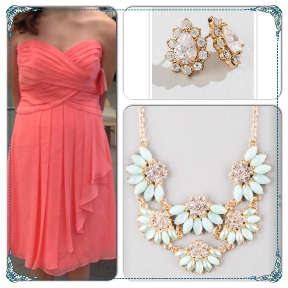 bridesmaid dress and jewlery