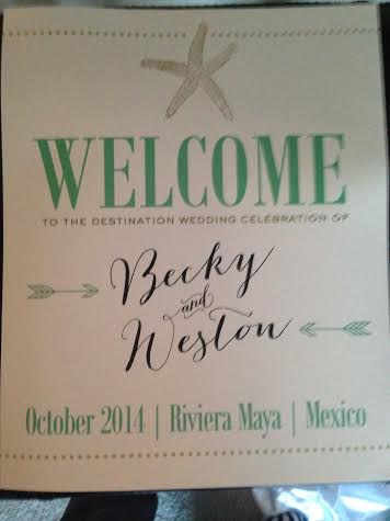 Welcome Sign for Guests at Reception