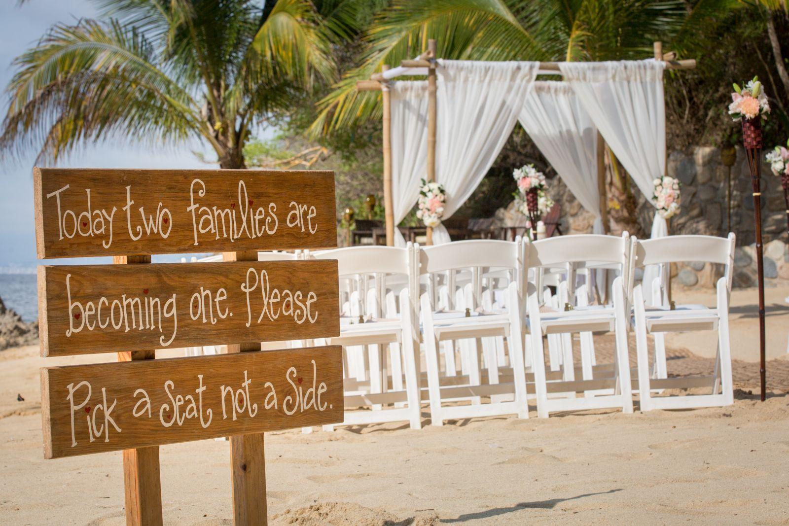 "White ceremony setup in a private beach ""Las Caletas"""