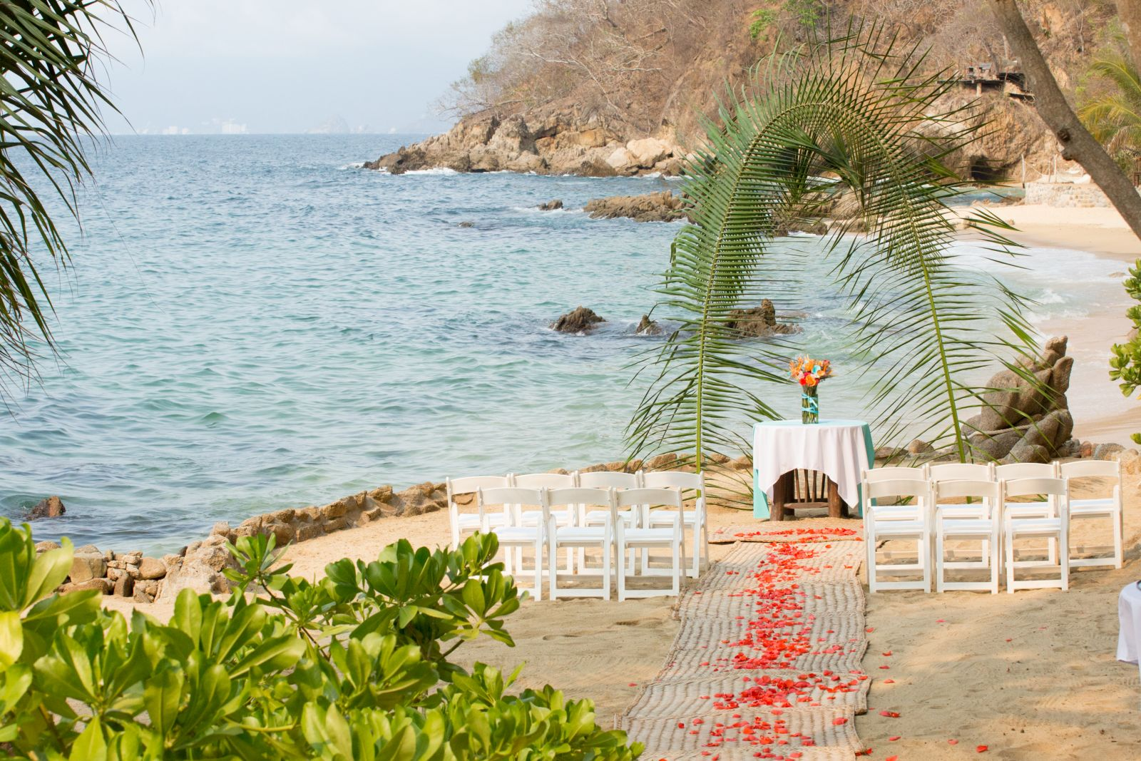 Tropical ceremony set up- In a special and private area, our ceremony set up is ready...