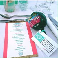 My DIY glitter/seahorse theme menu cards and maraca favors