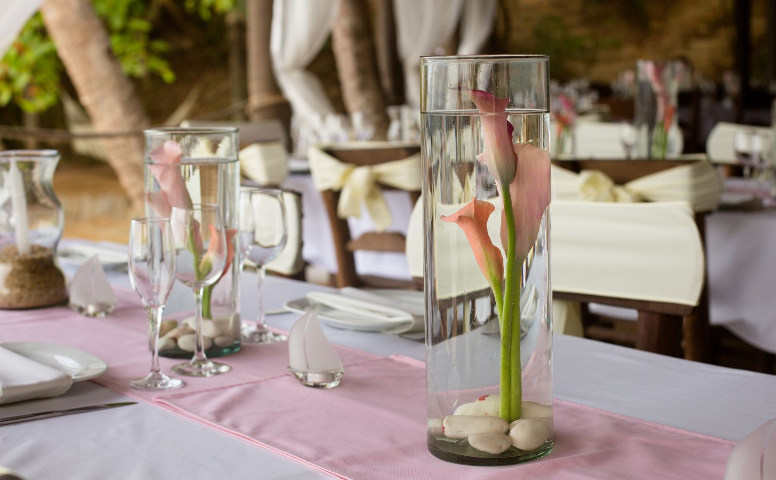 Centerpieces in pink