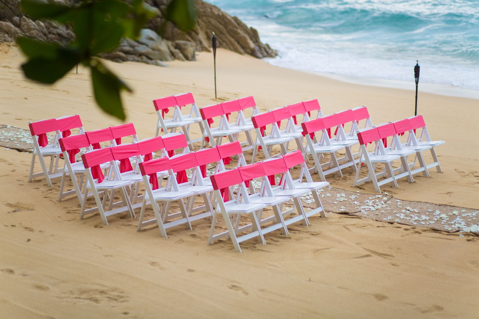 Ceremony set up in pink