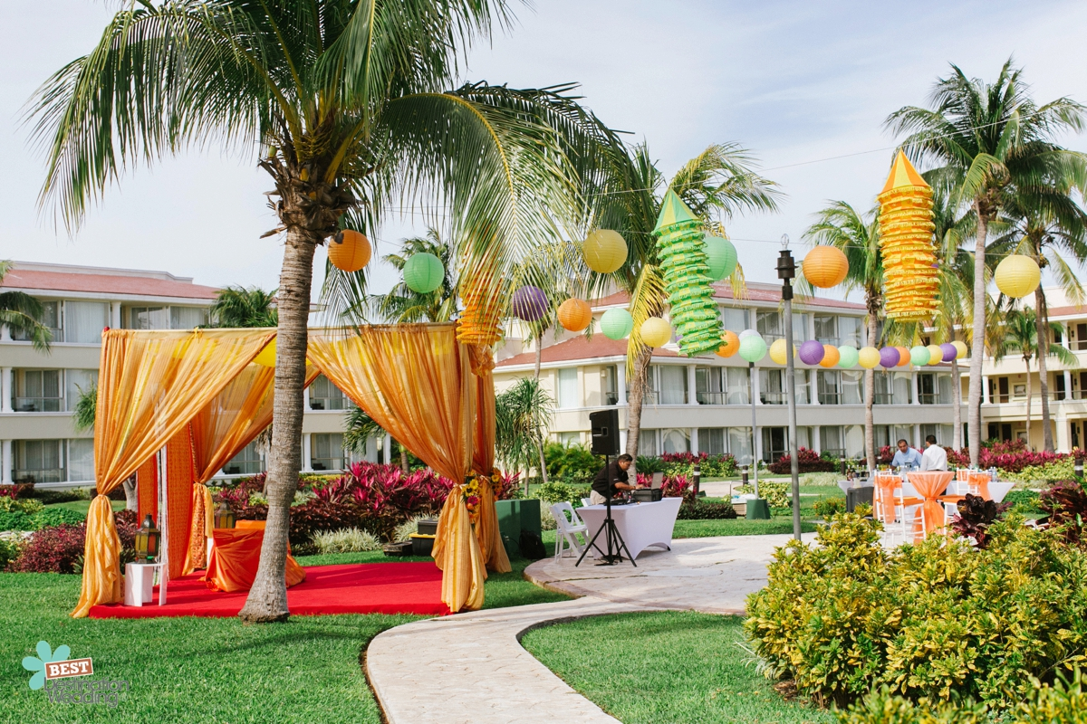 Mehndi and Sangeet Ceremony Setup at Moon Palace Golf & Spa Resort in Cancun