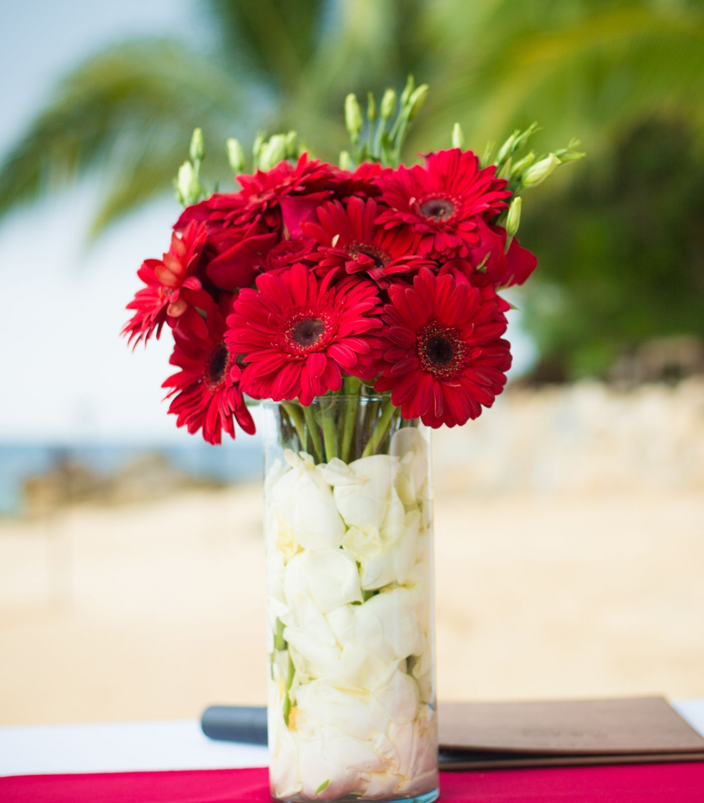Red and beautiful tall centerpiece