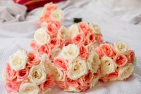bridesmaids bouquet with white and salmon color mix