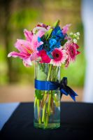 blue and pink tropical centerpieces