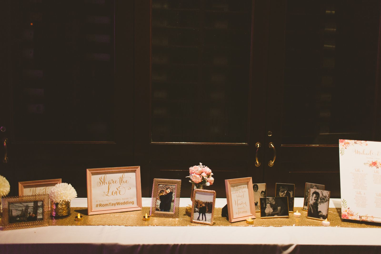 table runner   various gold frames   8x10 blush frame   5x7 blush frame   white And gold tealights   gold stands