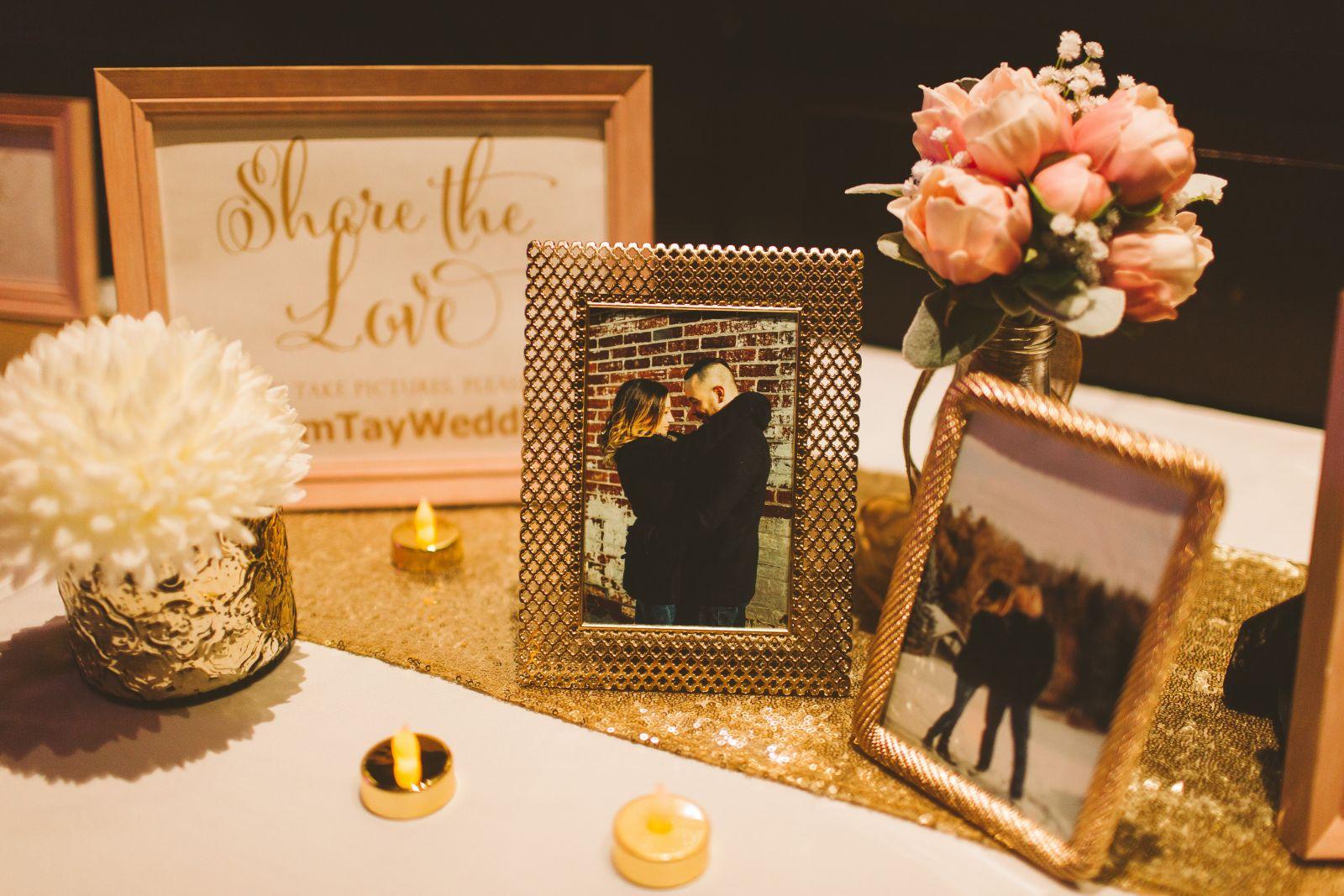 8x10 blush frame   4x6 gold frames   Led tealights   table runner