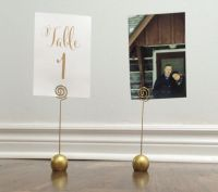 gold place card photo holders