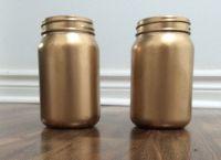 gold spray painted mason jars