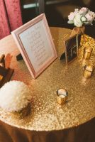 gold sequin table cloth   gold mercury tealights   gold mercury jars   gold frame