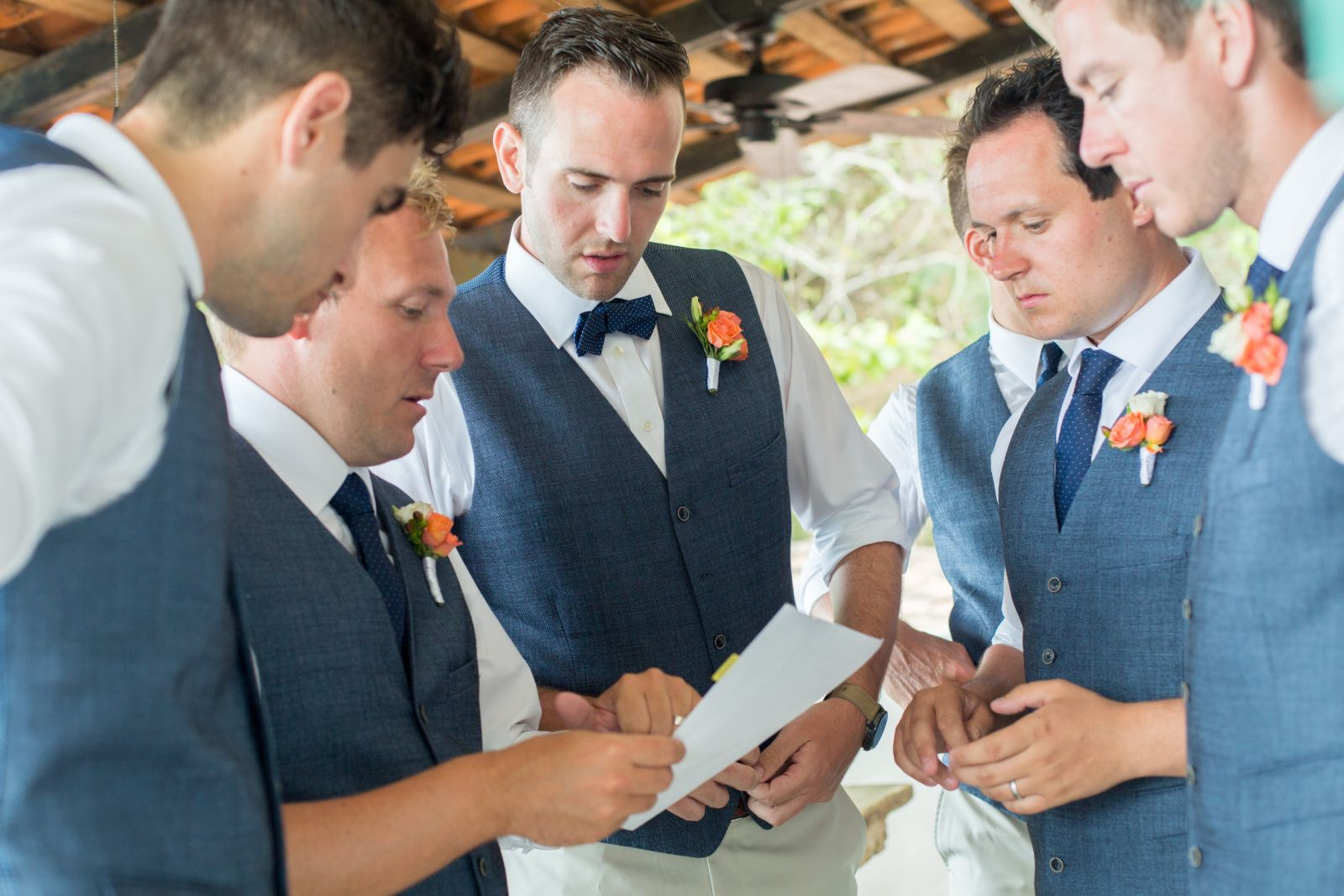 writing his wedding vows with great company