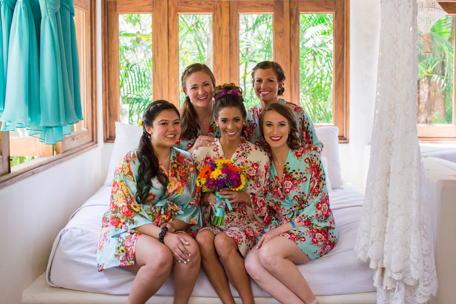 Bridal party getting ready.