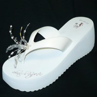 Bride wedge, feathers and crystals