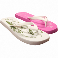 Pink and white flipflops
