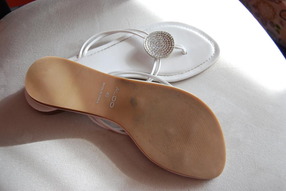 White Leather and Rhinestone flipflops