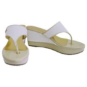 COACH Felecia wedge sandal in ivory/khaki size 7-1/2  $55