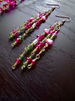 Fuschia & Lime Green Floating Bougainvillea earrings