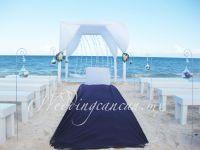 purple & white decoration beach wedding ceremony