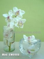white cymbidium orchids centerpiece