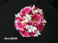 fiucsa roses and gerbera daisies bridal bouquet with a touch of white dendrobium orchid
