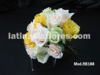 ivory, yellow and green roses bridal bouquet