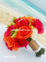 white lisianthus with orange and fiucsa roses bridal bouquet