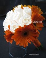 orange gerbera daisies and ivory roses bouquet