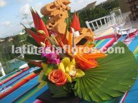 Colorful Mexican mayan centerpiece at Mayakoba, Riviera Maya,