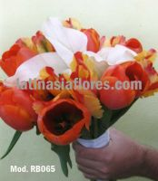 orange tulips and white calla lilies bridal bouquet