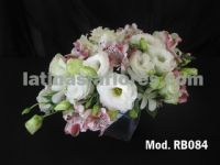 pink alstroemeria and white lisianthus #wedding #bouquet with dendrobium orchid