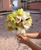 green and white cymbidium orchids bridal bouquet