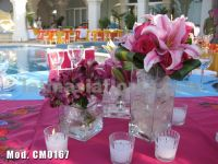 fyusha roses and pink oriental lily centerpiece