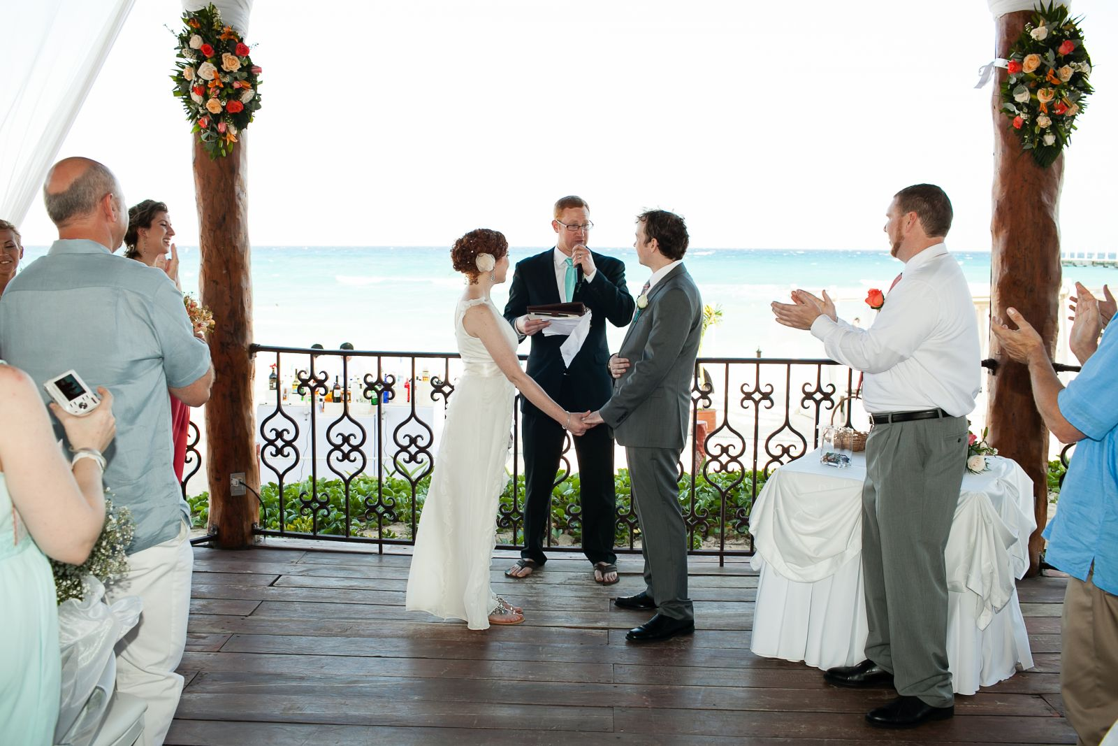 Wedding Gazebo at The Royal Playa del Carmen...We fit 40 guests in the gazebo with us and it made for such an intimate ceremony!   They block off the beach around the Gazebo and have staff stationed to stop passerby from walking around or watching the c