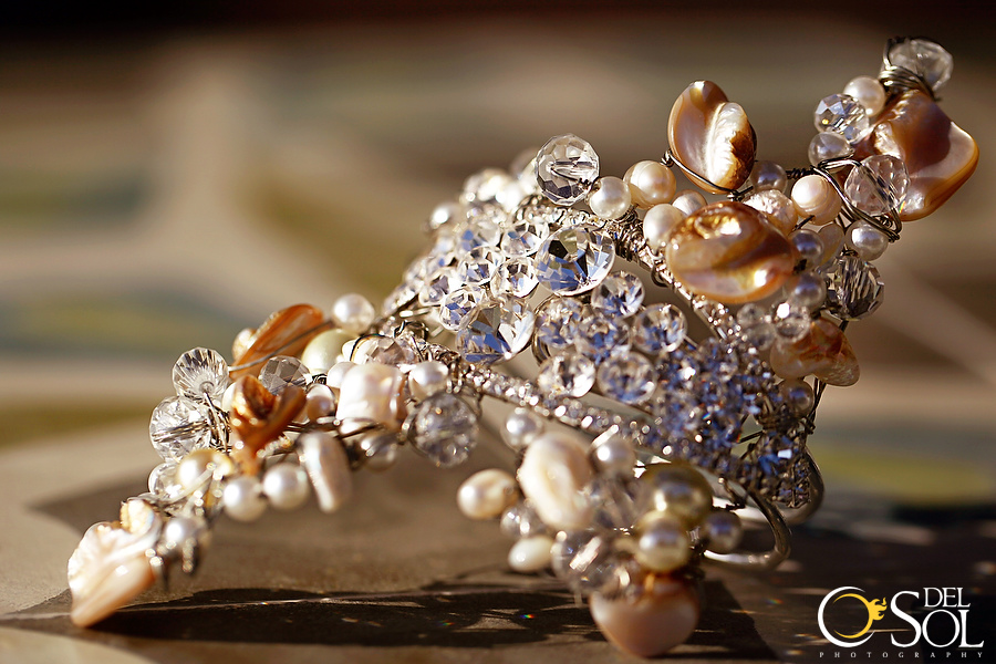 One of the most unique bracelets I've ever designed. Specifically made for this one of a kind trash the dress experience, the crystal rhinestone and shell wire-wrapped bracelet made me feel like I was a mermaid on shore!  This was part of ♦♦