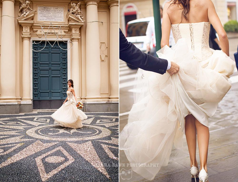 The bride and groom pose for portraits in front of the main cathedral in Santa Margherita, Italy.