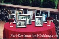 Cocktail hour: We'd like to honor the couples that inspire us by placing their photos on a table. We will set-up an easel with our signature frame next to it.