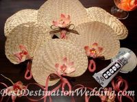 Ceremony: Palm fans with a ribbon/tag attached. I'd prefer to have the program and fan preplaced on the seat