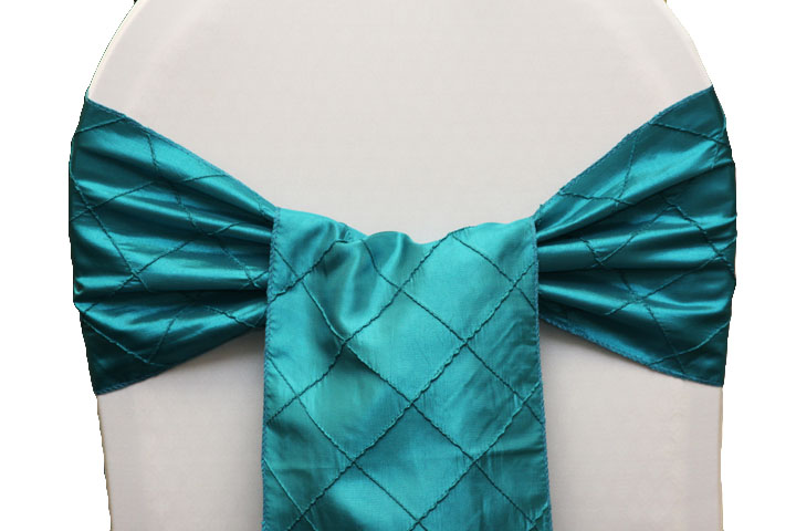 Teal/Dark Turquoise Pintuck Linens/Sashes For Sale