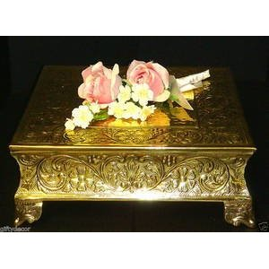 Square Gold 18'' Cake Stand for Sale